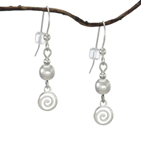 Handmade Jewelry by Dawn Dainty Silver with Silver Swirl Drop Earrings (USA)