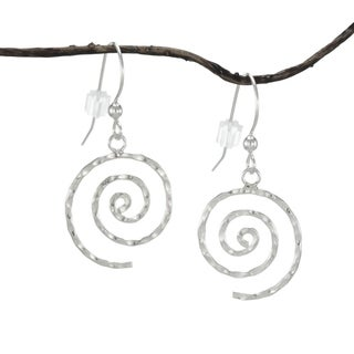 Handmade Jewelry by Dawn Hammered Swirl Sterling Silver Earrings (USA)