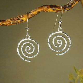 Jewelry by Dawn Hammered Swirl Sterling Silver Earrings|https://ak1.ostkcdn.com/images/products/6971869/Jewelry-by-Dawn-Hammered-Swirl-Sterling-Silver-Earrings-P14484936.jpg?impolicy=medium