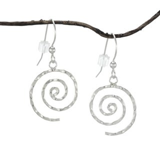 Handmade Jewelry by Dawn Hammered Swirl Sterling Silver Earrings