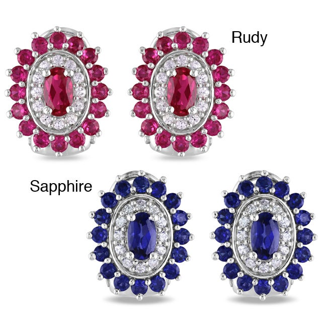 Miadora Sterling Silver Created Ruby or Sapphire Earrings