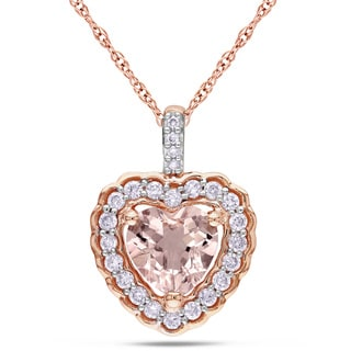 Miadora 10k Rose Gold Morganite and 1/6ct TDW Diamond Heart Necklace (G-H, I1-I2)
