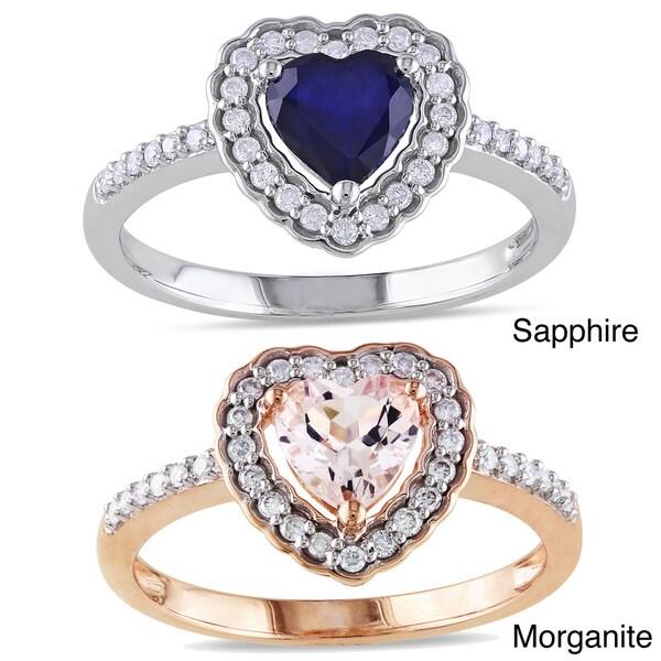 Miadora 10k Gold Gemstone and 1/5ct TDW Diamond Heart Ring (G-H, I1-I2)