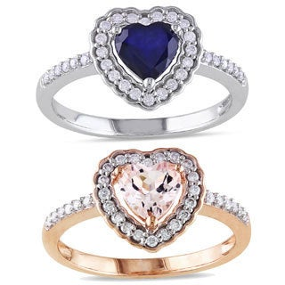 Miadora 10k Gold Gemstone and 1/5ct TDW Diamond Heart Ring (G-H, I1-I2)