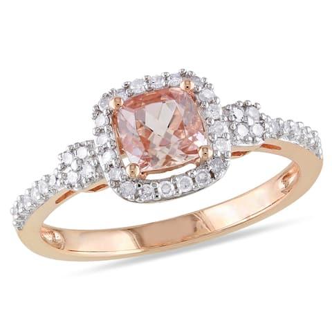 Miadora 10k Gold Morganite or Sapphire and 1/5ct TDW Diamond Ring (G-H, I1-I2)