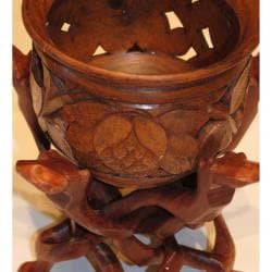 Hand-Carved Mahogany Wooden Flower Pot with Stand (Pakistan)