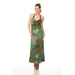 White Mark Women's `London' Green Peacock Long Halter Dress