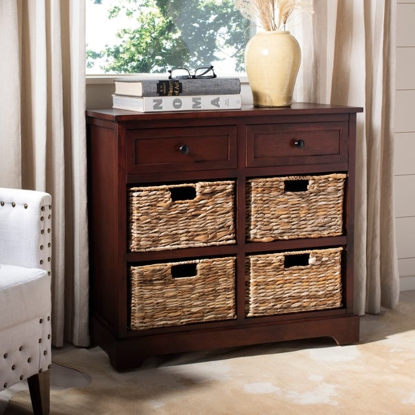 "Safavieh Cape Cod 6-Drawer Dark Cherry Storage Unit - 29.9"" x 13"" x 27.6"""