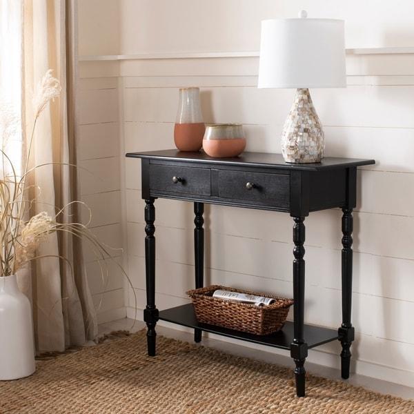 Shop Safavieh Cape Cod Black 2 Drawer Console Table On