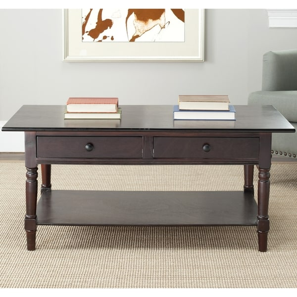 Shop Safavieh Cape Cod Dark Cherry 2-drawer Coffee Table