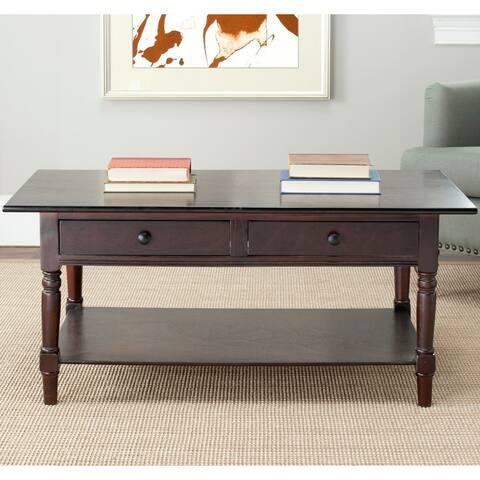"Safavieh Cape Cod Dark Cherry 2-drawer Coffee Table - 41.7"" x 21.7"" x 18.5"""
