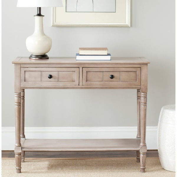 """SAFAVIEH Samantha Grey 2-drawer Console Table - 35.8"""" x 13.8"""" x 29.5"""". Opens flyout."""