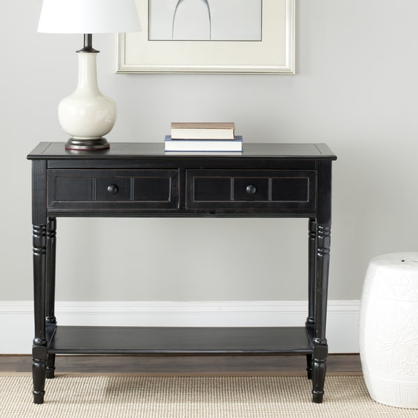 Overstock Foyer Furniture : Safavieh samantha black drawer console table free