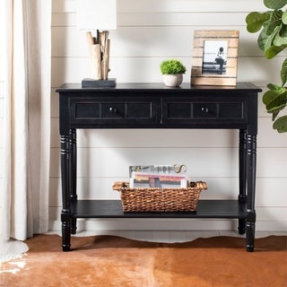 "Link to Safavieh Samantha Black 2-drawer Console Table - 35.8"" x 13.8"" x 29.5"" Similar Items in Living Room Furniture"