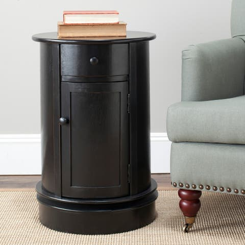 "Safavieh Cape Cod Black Swivel Storage Accent Table - 17.7"" x 17.7"" x 26"""