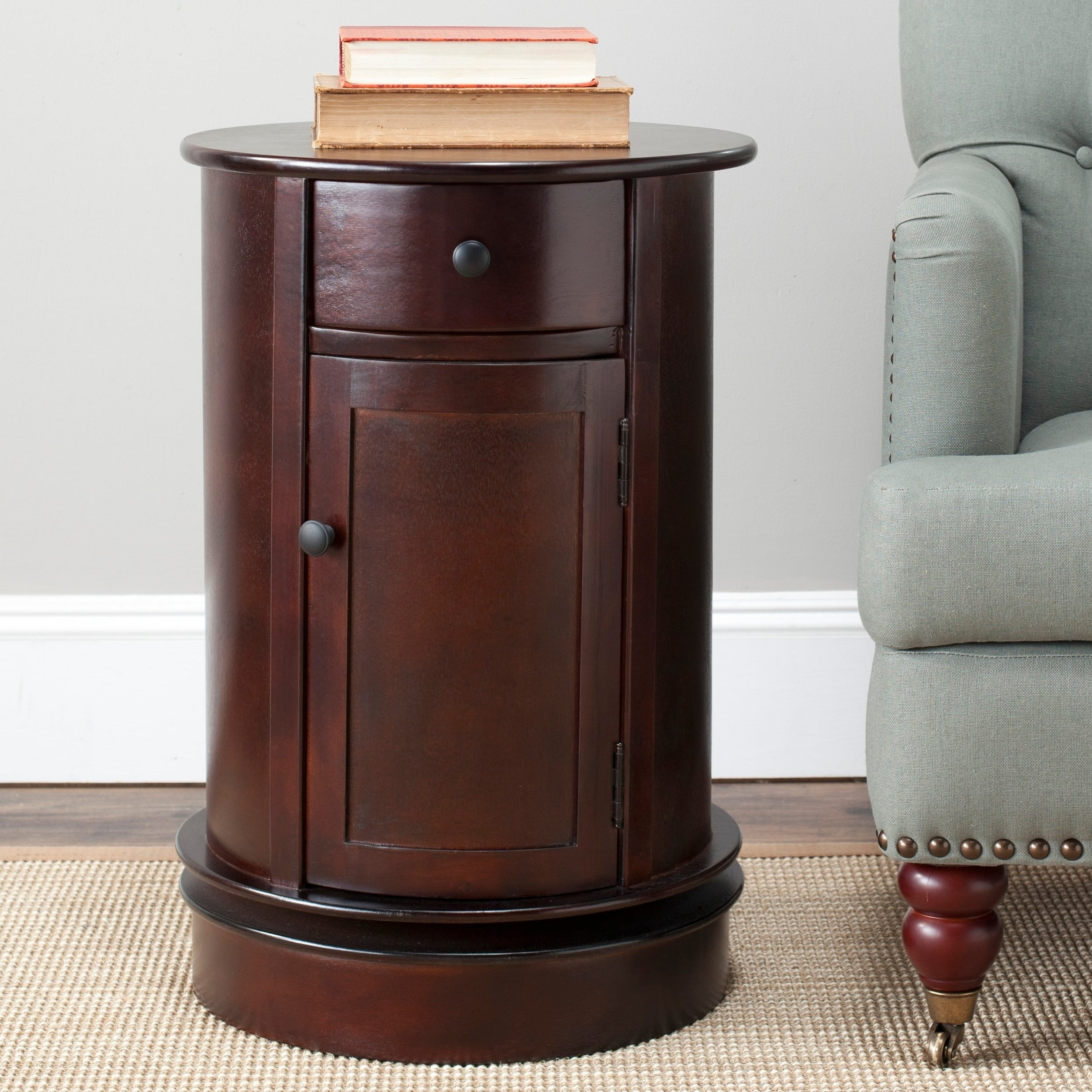 - Shop Safavieh Cape Cod Dark Cherry Swivel Storage Accent Table - 17.7