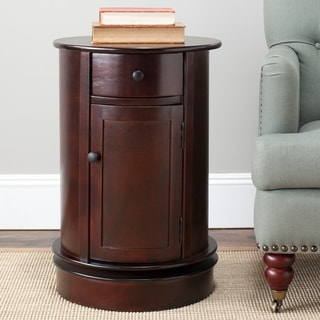 "Safavieh Cape Cod Dark Cherry Swivel Storage Accent Table - 17.7"" x 17.7"" x 26"""