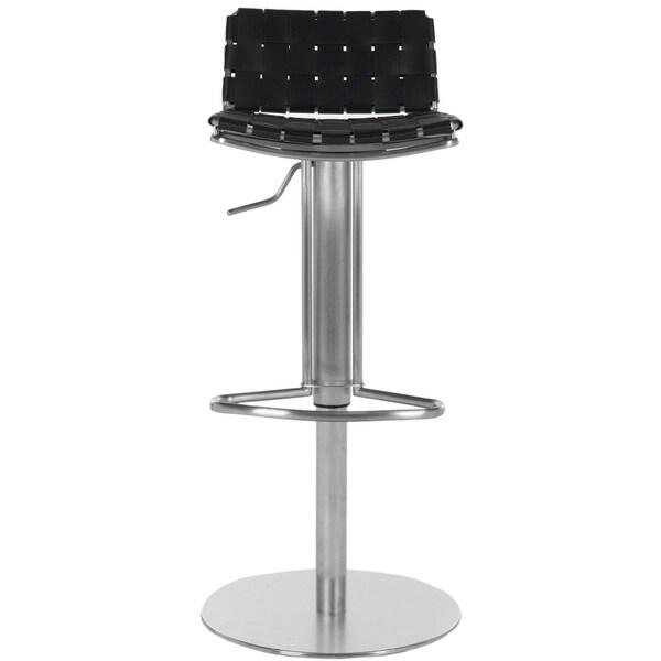 "Safavieh 22.8-31.9-inch Deco Black Leather Seat Stainless Steel Adjustable Bar Stool - 17.7"" x 16.5"" x 29"""