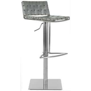 Safavieh Mitchell Grey Leather Seat Stainless-Steel Adjustable 22-31-inch Modern Bar Stool
