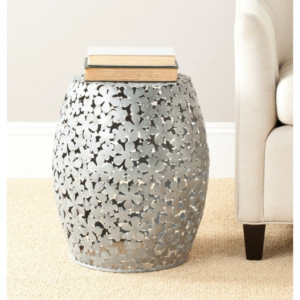Safavieh Steelworks White Wash Floral Silver Iron Stool
