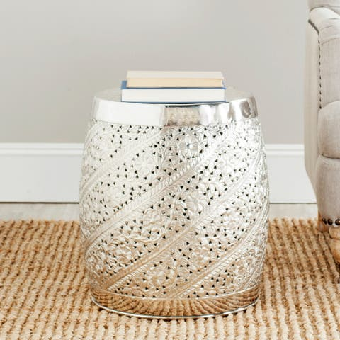 "Safavieh Steelworks Etched Silver Nickel Plated Decorative Accent Stool - 16.5"" x 16.5"" x 18.9"""