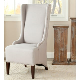Safavieh En Vogue Dining Deco Bacall Nailhead Beige Linen Dining Chair