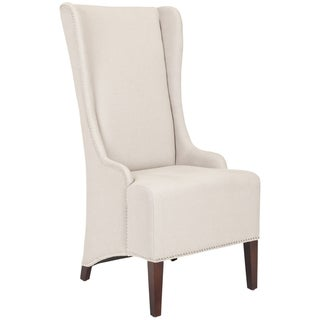 Safavieh En Vogue Dining Deco Bacall Taupe Linen Nailhead Trim Side Chair