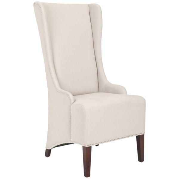 Safavieh En Vogue Dining Deco Bacall Taupe Linen Nailhead Trim Side Chair