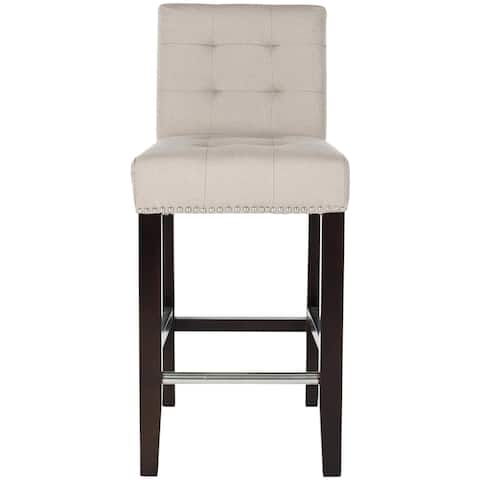 "Safavieh Noho Beige Linen Nailhead Trim 26-inch Counter Stool - 16.7"" x 20.1"" x 34.4"""