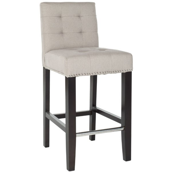 Safavieh Noho Beige Linen Nailhead Trim 26-inch Counter Stool
