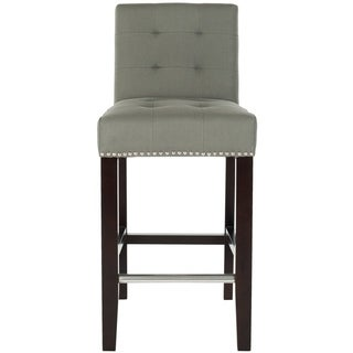 Safavieh Noho Grey Linen Nailhead Trim 26-inch Counter Stool
