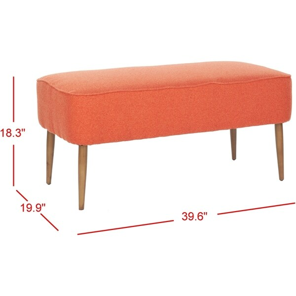 "Safavieh Mid Century Orange Wool Bench - 39.6"" x 19.9"" x 18.3"""