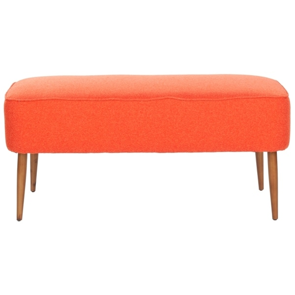 "Safavieh Mid Century Orange Wool Bench - 39.6"" x 19.9"" x 18.3"". Opens flyout."