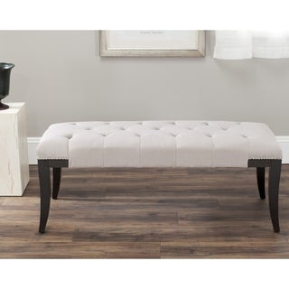 Safavieh Florence Beige Tufted Nailhead Bench