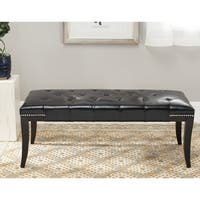 Safavieh Florence Black Tufted Nailhead Bench