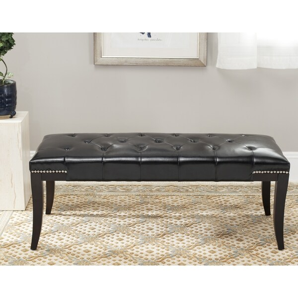 Superbe Safavieh Florence Black Tufted Nailhead Bench