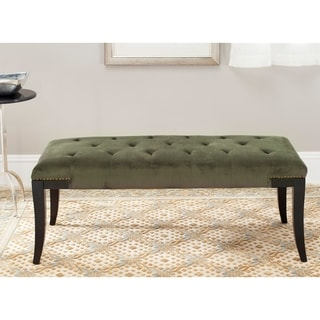 Safavieh Florence Grey Tufted Nailhead Bench