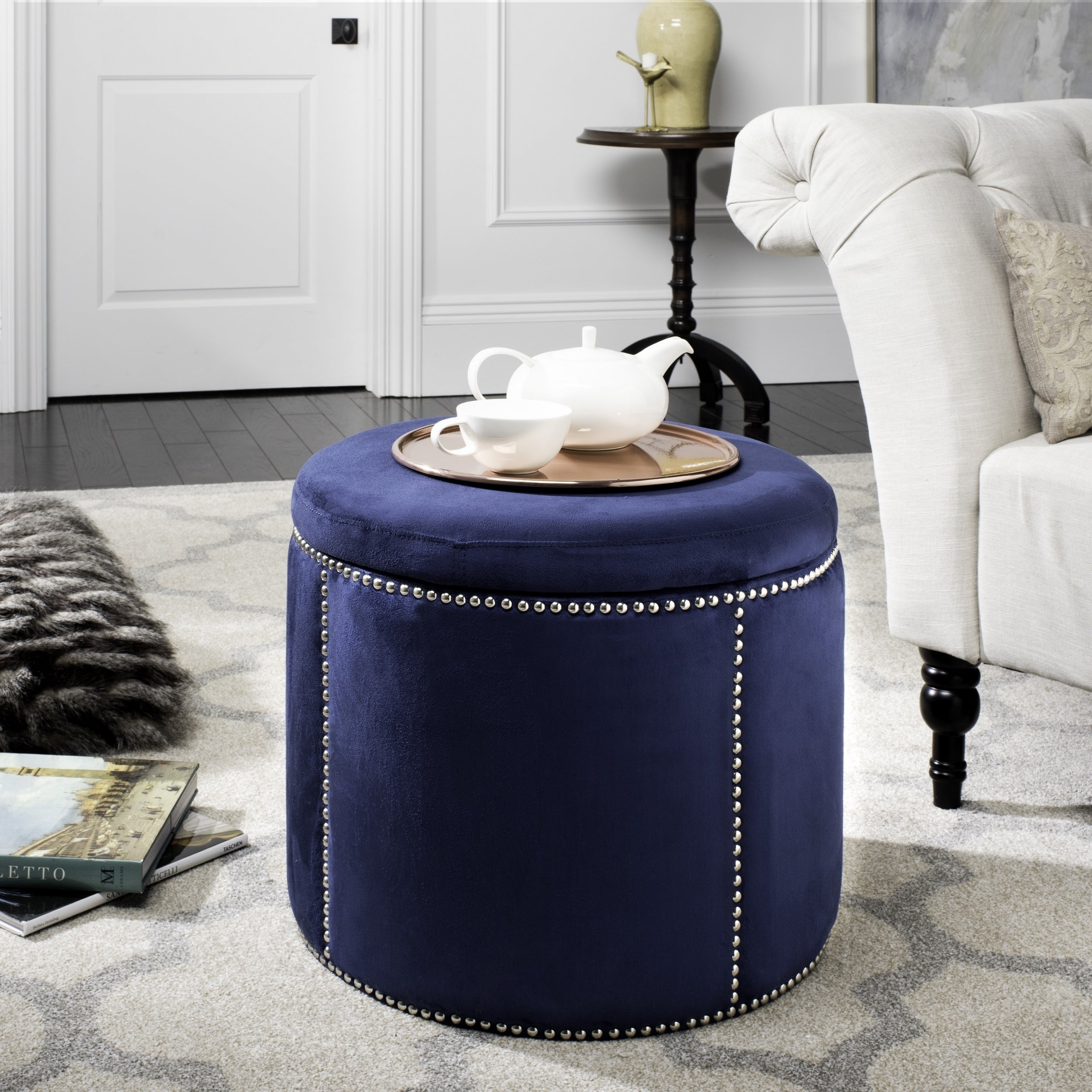 Admirable Safavieh Florentine Navy Nailhead Round Storage Gmtry Best Dining Table And Chair Ideas Images Gmtryco