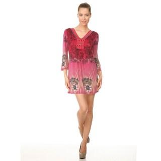 White Mark Women's 'Roma' Pink Peacock Butterfly Dress