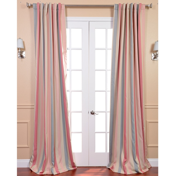 Exclusive Fabrics Ambrosia Stripe Blackout Back-tab Pole Pocket Curtain Panel Pair