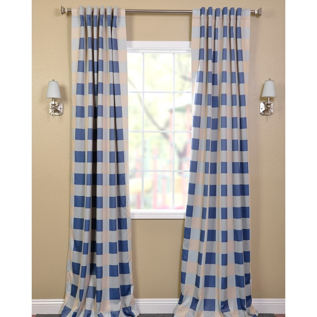 Exclusive Fabrics Harbor Mist Plaid Blackout Back-tab Pole Pocket Curtain Panel