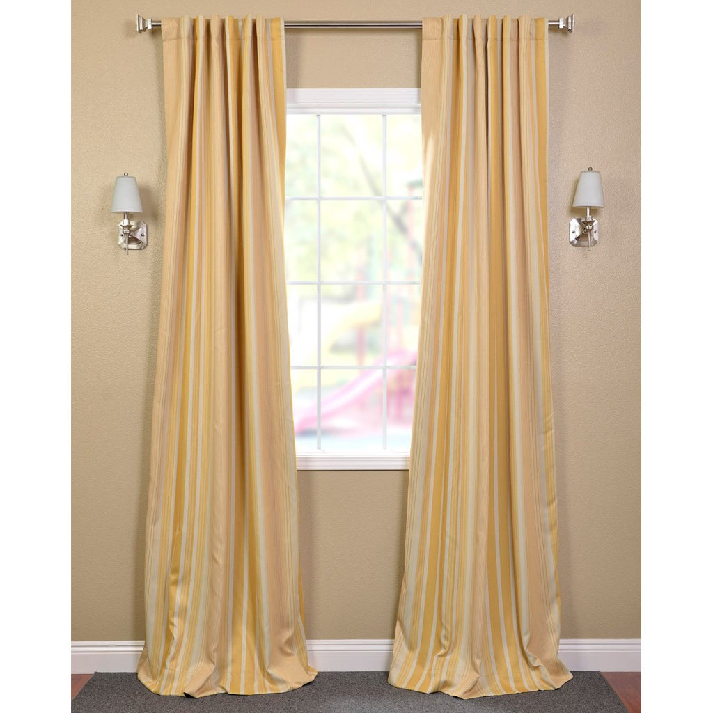 Exclusive Fabrics Sundip Stripe Blackout Back-tab Pole Pocket Curtain Panel Pair