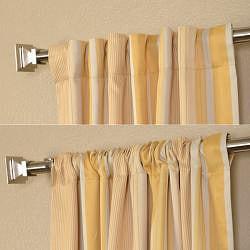 Exclusive Fabrics Sundip Stripe Blackout Back-tab Pole Pocket Curtain Panel Pair