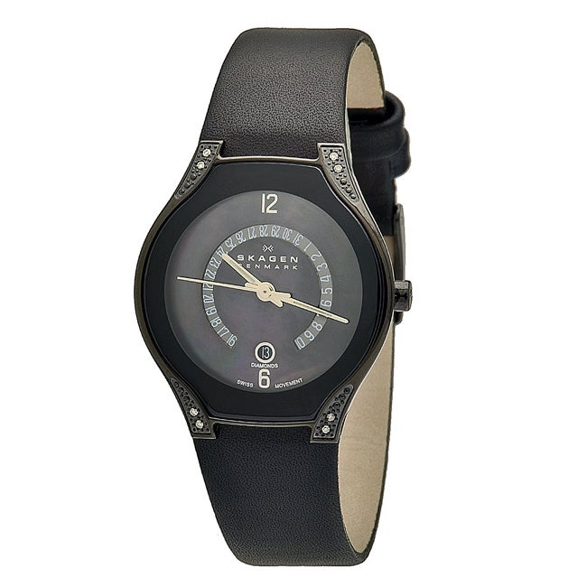 65c5c3367 Shop Skagen Women's Black Label Leather Strap Watch - Free Shipping Today -  Overstock - 6972061