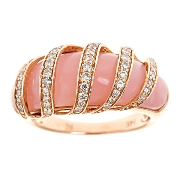Anika and August 14k Rose Gold Pink Opal and 2/5ct TDW Diamond Ring (G-H, I1-I2)