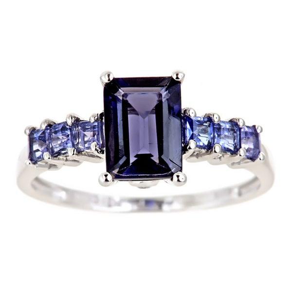D'Yach 10k White Gold Iolite, Tanzanite and Diamond Ring