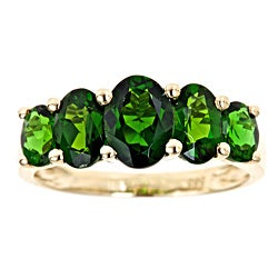 D'Yach 14k Yellow Gold 5-stone Chrome Diopside Ring