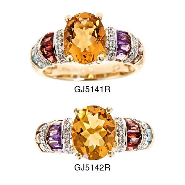 D'Yach 14k Gold Citrine, Tourmaline and 1/6ct TDW Diamond Ring (G-H, I1-I2)