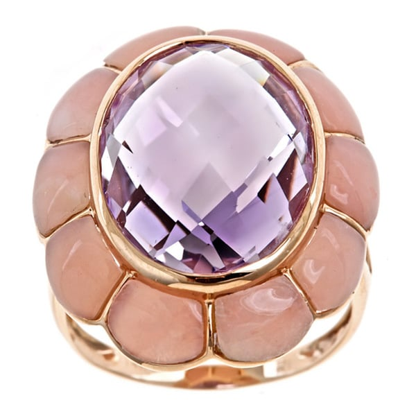 D'Yach 14k Rose Gold Pink Amethyst and Pink Opal Flower Ring