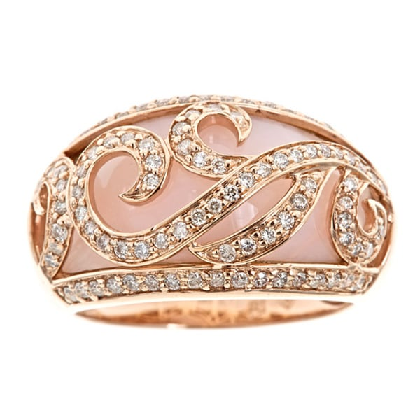 D'Yach 14k Rose Gold Pink Opal and 3/5ct TDW Diamond Ring (G-H, I1-I2)